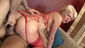 Lovely Blonde Double Teamed And Facialized